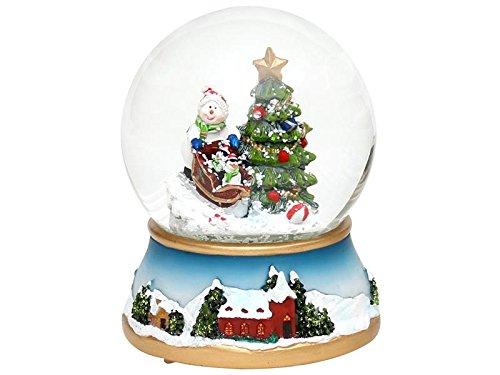 Dekohelden24 Schneekugel, Tannenbaum mit Schneemann, mit Schneewirbel und Licht, Maße H/B/Ø Kugel: ca. 13,5 x 11 cm/Ø 10 cm.