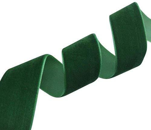 "Chenkou Craft 5 Yards 1""(25mm) Green Velvet Ribbon (Green)"
