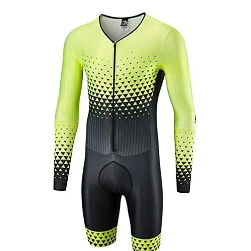 Abiti Triathlon Uomo - Uomo Elite brevi manica Trisuit - Trisuit Triathlon Uomo - Jersey Uomini di One Piece Body (Color : C, Size : Medium)