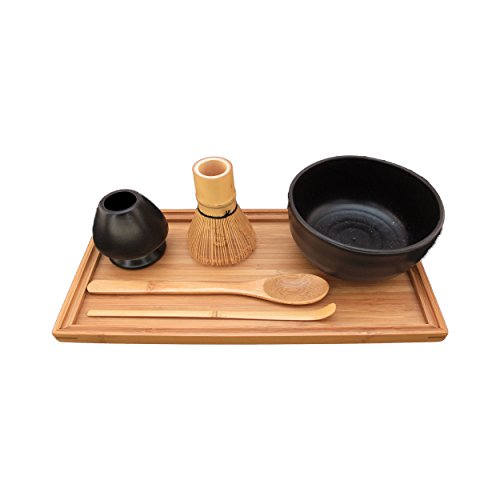 BambooMN Brand - Matcha Bowl Set (Includes Bowl, Rest,Tea Whisk, Chasaku, Tea Spoon & Tray) 1 Set Black