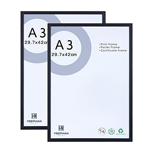 A3 schwarzer Bilderrahmen Massivholzrahmen mit Plexiglasfront zur Wandmontage,29,7x42cm Bilderrahmen/Bilderrahmen/Posterrahmen/A3 Zertifikatsrahmen für Wohnwanddeko,2er Set
