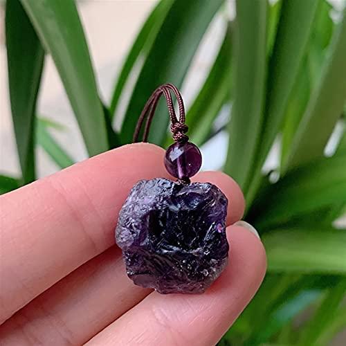 QWEQWE Pequeño Roca Irregular Péndulo Piedra Natural Collar de Piedra Colorido Cuarzo Lapis Amatistas Citrines Púrpura Cristal Colgante Colgante Collar (Metal Color : Amethyst)