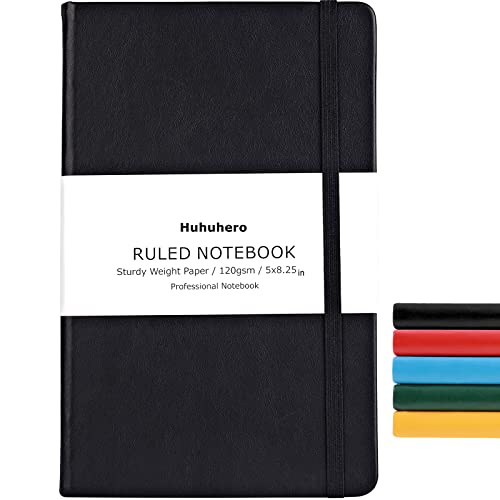 Huhuhero Notebook Journal, Classic Ruled Hard Cover, 120Gsm Premium Thick Paper with Fine Inner Pocket, Black Faux Leather for Journaling Writing Note Taking Diary and Planner, 5'×8.25'(1)