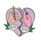 Broche Pins, 2pcs Best Buds Broken Corazón Broken Pin Chaqueta Bolsa Collar Solapa Insignia Joyería - Rosa