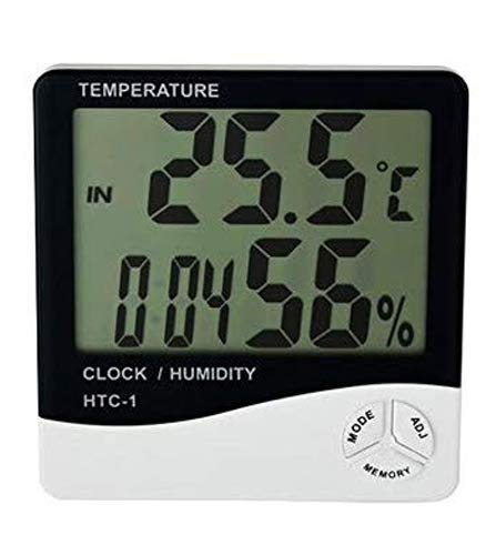 MCP Digital Room Thermometer for Temperature & Humidity with Alarm Clock, Wall Mount or Table Top (HTC-1)