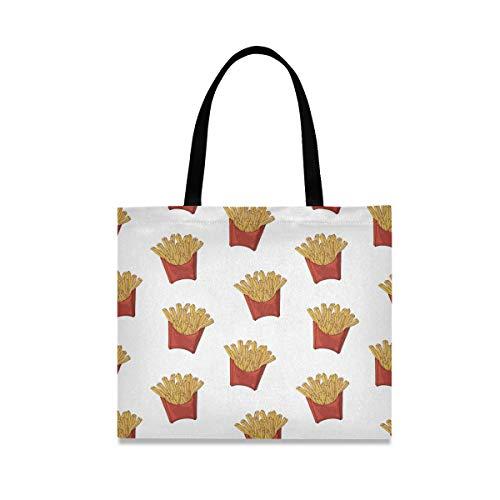 Bolsa de lona para papas fritas de comida rápida para mujer, bolsas de comestibles grandes reutilizables con bolsillo interior, bolsa de compras para gimnasio, playa, viajes al aire libre