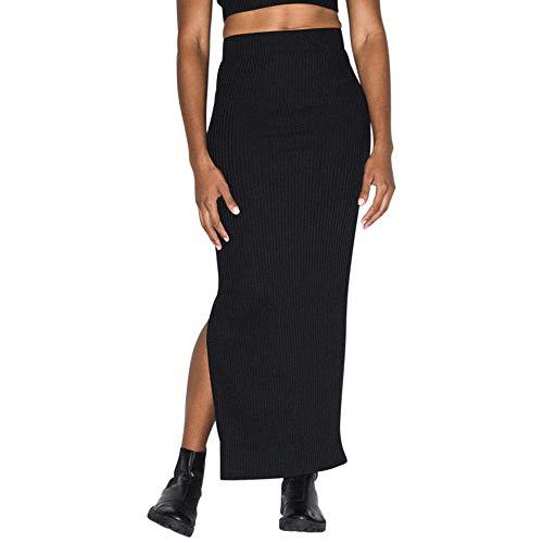 American Apparel Women#039s Thick Rib Maxi Skirt Black Large