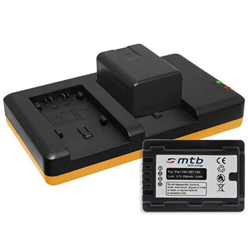 2 Akkus [1780mAh] + Dual-Ladegerät (USB) für VW-VBT190 / Panasonic HC-V130, V160, 270, 380, V727, V777 s. Liste! mit Infochip (Akkulaufzeitanzeige unterstützt)