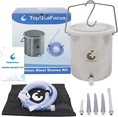 TopQuaFocus Lavement Douche 2L Réutilisable Seau de Lavement Côlon en Acier Inoxydable sans Phtalates et BPA avec 5 Embouts pour Coffee Lavement Soulage la Constipation Detox