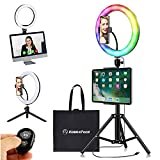 KobraTech RGB 10 Inch Selfie Ring Light with Tripod Stand and Phone Holder – MiLite+ RGB Selfie Light Ring - with Ring Light for Computer Clip, Mini Tripod, Bluetooth Remote Shutter and iPad Holder