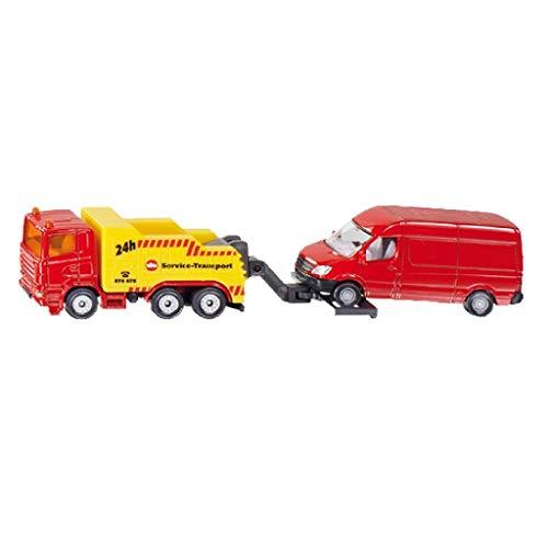 SIKU 1667, Abschleppwagen mit PKW, Metall/Kunststoff, Rot/Gelb, Heb- und Senkbare Abschleppvorrichtung
