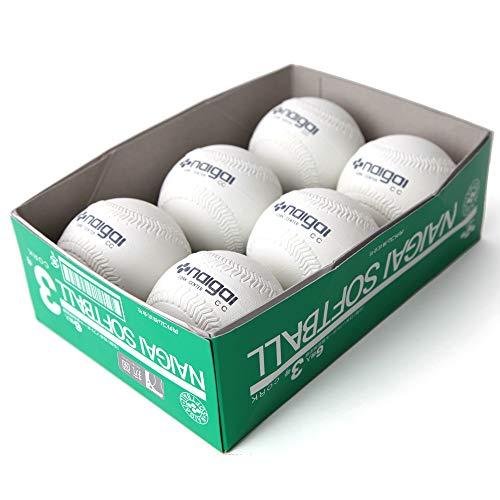 ナイガイ ソフトボール 検定球 試合球 公認球 3号 中学生以上 一般用 6個 内外 NAIGAI
