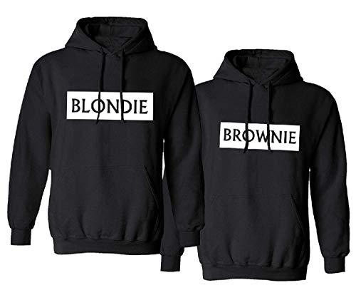 Blondie Brownie Pullover Damen Grau für Zwei Mädchen Best Friends Hoodies für 2 Mädchen Weiß Beste Freunde Pullover BFF Pullover Sister Kapuzenpullover Damen Pulli Schwarz Baumwolle BFF Geschneke