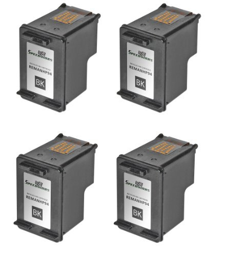 Speedy Inks Remanufactured Ink Cartridge Replacement for HP 94 (Black, 4-Pack)