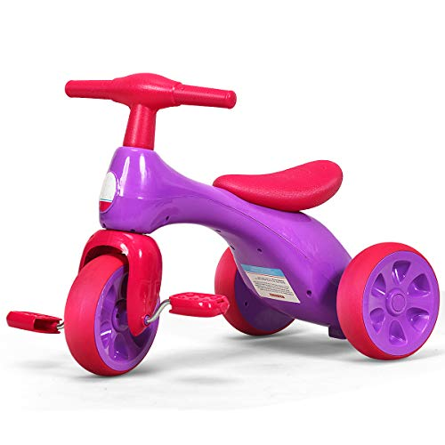 Costzon Kids Tricycle, Baby Balance Bike Walker with Foot Pedals, BB Sound and Storage Box, Lightweight, Rider Trike for Toddler 1 2 3 Years Old Indoor Outdoor, Children 3 Wheels Bicycle Toy (Purple)