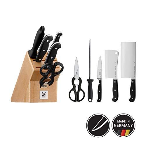 WMF Spitzenklasse Plus Asia Messerblock mit Messerset 6-teilig, 3 Messer geschmiedet, 1 Schere, 1 Wetzstahl, 1 Block aus Buchenholz, Performance Cut