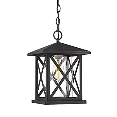 Jazava Outdoor Wall Sconces, Matte Black Finish with Clear Glass Lamp Shade