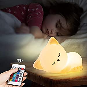 crib bedding and baby bedding cute kitty night light with remote control,rechargeable nursery animal nightlight for kids baby toddler,kawaii led cat squishy lamp,glow lights room decor stuff,teen girls boys child valentine gifts