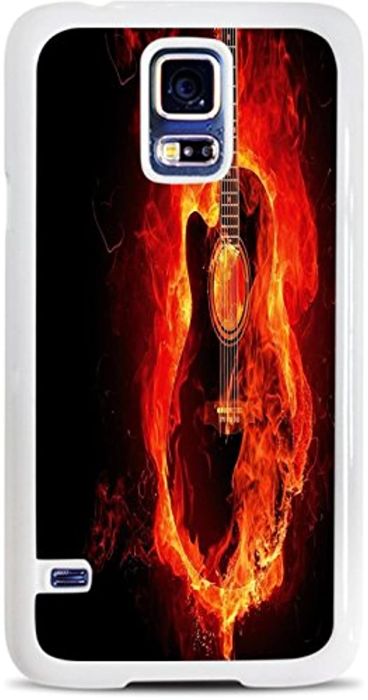 Guitar on Fire White Hardshell Case for Samsung Galaxy S5 by Moonlight Printing