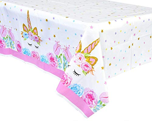 FZR Legend [Upgraded] Unicorn Birthday Party Supplies - Unicorn Plastic Tablecloth | 52 x 90 inches,Disposable Table Cover | Magical Unicorn Themed Party Decorations for Girls and Baby Shower