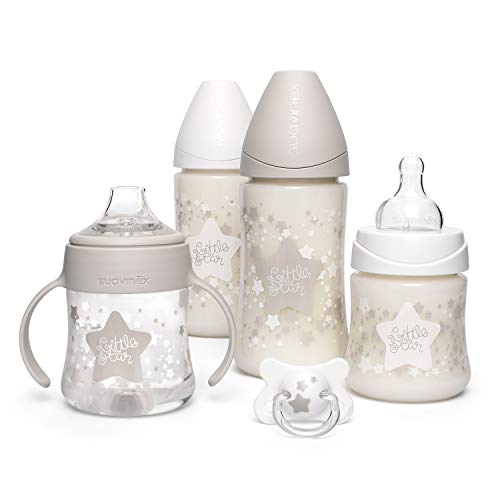 Suavinex, Pack Ahorro Little Star 2 biberones 270ml + 2 biberones 150ml + Chupete -2-4 meses, Blanco