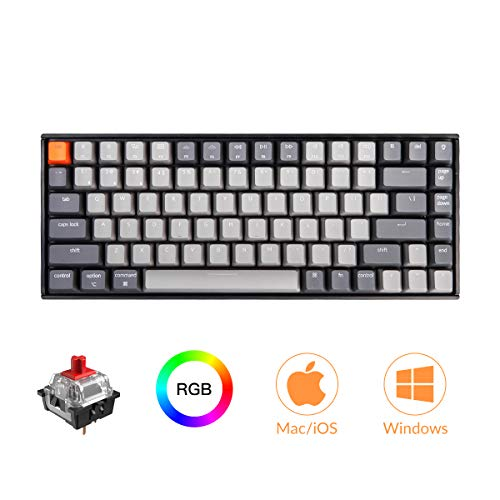 Keychron K2 Bluetooth Mechanical Keyboard with Gateron Red Switch/RGB LED Backlit/USB C/Anti Ghosting/N-Key Rollover/Compact Design, 84 Key Wireless Keyboard for Mac Windows