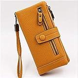 GLJYG Cartera larga para mujer, de piel sintética, tarjetero, vintage, doble cremallera, elegante, bolso de mano, portatarjetas, color amarillo