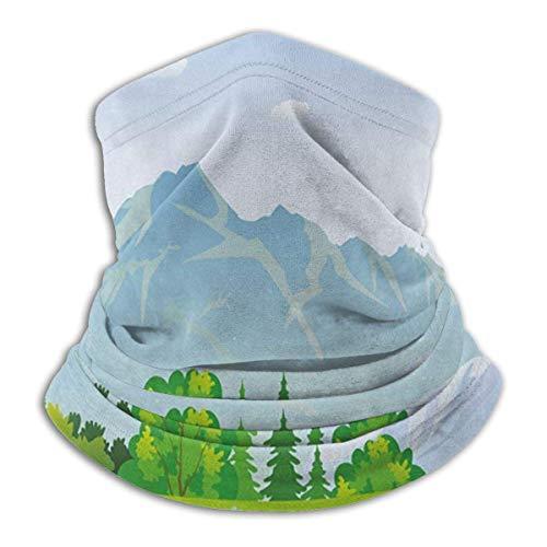 Summer In Meadows Theme Mountain Flowers Forest illustratie unisex winter fleece hals warm gaiters haarband koud weather tube gezichtsmasker thermische nek scarf outdoor UV-bescherming party cover