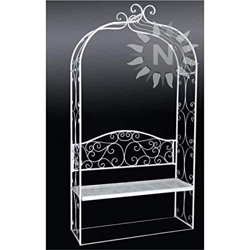 Unbekannt Noor Living 55492 wunderschöner Rankbogen mit Sitzbank, weiß, rustikal 120 x 40 x 218 cm