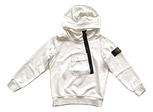 Stone Island Junior 701660140.V0001 - Sudadera con capucha para niño, color blanco y negro