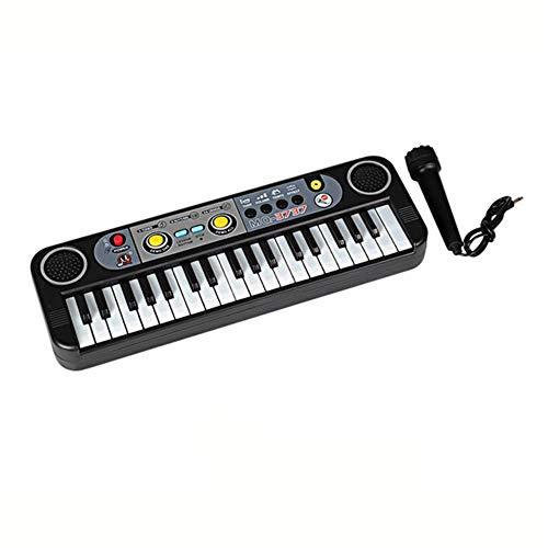 LEIXNDPLBO Muziekinstrumenten Mini 37 Toetsen Electone Toetsenbord Met Microfoon Cadeaus Leren Educatief Speelgoed Voor Kinderen, zwart