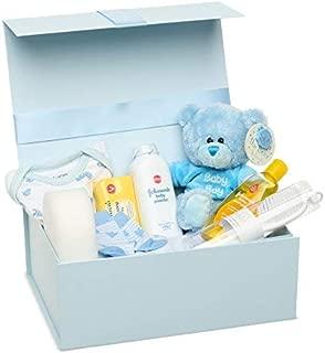 Baby Box Shop Cesta regalo beb/é ni/ño para baby shower con todo lo esencial para bebes reci/én nacidos con osito de peluche y caja de recuerdos azul