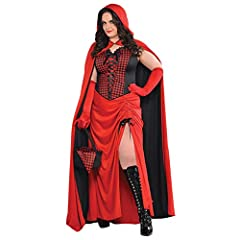 LADIES RED RIDING HOOD HALLOWEEN GOTHIC FAIRYTALE FANCY DRESS COSTUME - ADULTS DRESS, LACE UP GINGHAM CORSET, REVERSIBLE HOODED CAPE, BLACK OPEN TOP BASKET AND GINGHAM HANDKERCHIEF (XLARGE) #2