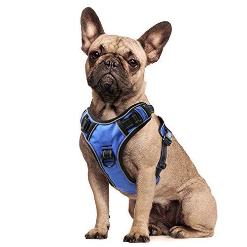 HEELE Hundegeschirr Reflektierend Hundegeschirr Hundesport Gepolstert Brustgeschirr No Pull Geschirr Hund Verstellbares mit Reflektierendem Zuggeschirr Hundegeschirr Mittelgroße Hunde Blau M
