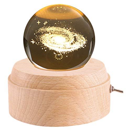 Wakauto Kristall Spieluhr Rotierende Kugel Spieluhr Führte Nachtlicht Glas Schneekugel für Mädchen Kinder Frauen