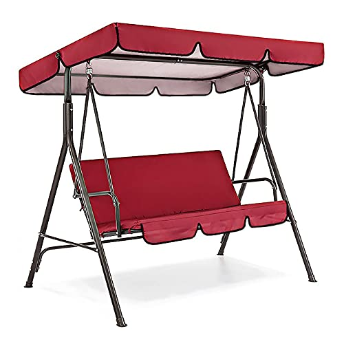 FKDENA Cubierta impermeable de repuesto para columpio de patio, cubierta ajustable y cubierta de cojín, cubierta superior para patio, patio, jardín, silla columpio de protección, color rojo