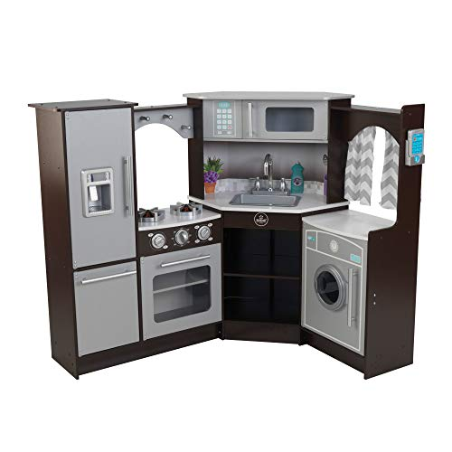 KidKraft (53365) Ultimate Corner Play Kitchen with Lights & Sounds, Espresso
