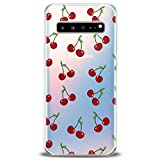 Cavka TPU Cover for Samsung Galaxy Case Note 10 Plus 5G S10 S10e S9 S8 S7 Cherry Soft Red Lightweight Lovely Tropic Food Fruit Clear Summer Print Design Flexible Silicone Slim fit Gift Cute Luxury