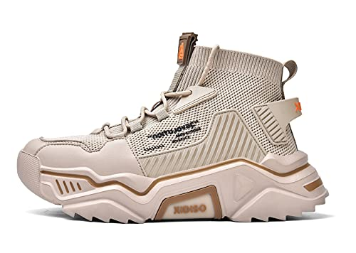 SANNAX Uomo Scarpe Moda Scarpe Alte Sportive Casuale Sneakers Beige 44