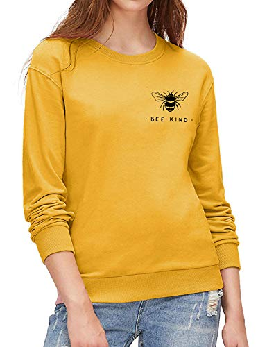Dresswel Damen Bee Kind Pullover Sweatshirt Rundhals Langarmshirt Biene Bluse Oberteile Tops