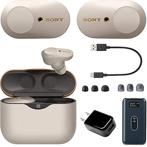 Sony WF-1000XM3 Noise Canceling Wireless Earbuds (Silver) + Deco Gear Power Bundle