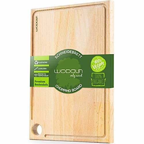 WODDUN Tabla de cortar Rectangle, madera de haya prémium, platos de carne orgánicos, tabla de pan, tabla de cocina de desayuno, tabla de madera con surco, tabla de cortar (XL)