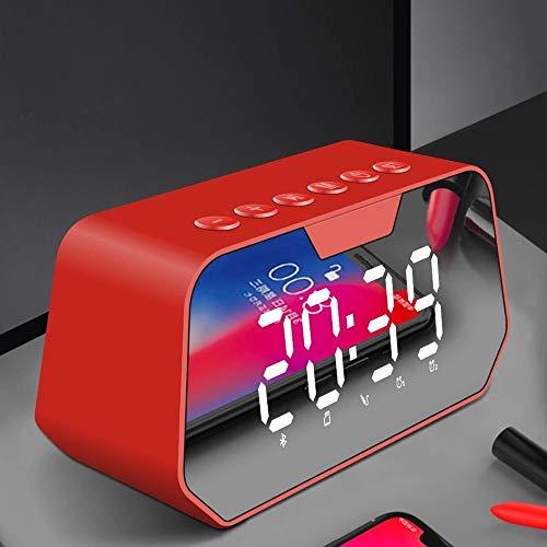 ZMING Protocolo Bluetooth de Sonido del Altavoz inalámbrico Bluetooth 5.0 Viper Sonido de la Alarma de Radio portátiles Volumen de Reloj teléfono móvil del subwoofer (Color : Red)