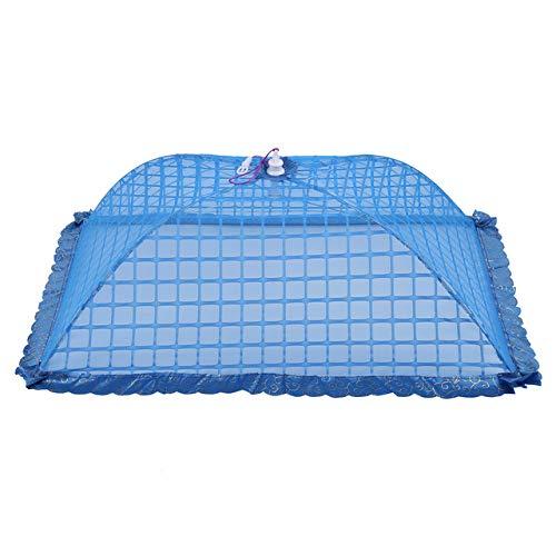 HCTX Wiederverwendbare und Faltbare 4pcs, 72x51cm Schirm Regenschirm Essen Cover, geeignet für Picknick/Grill, Fliegen und Moskitoschutznetz,Blue 4 pcs