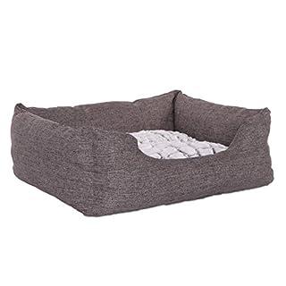 Kuschliges Hundebett von dibea,  (LxB, circa Maße):  Außenmaß  60 x 50 cm // Innenmaß  40 x 35 cm Gemütliches Hundesofa in meliertem Stoff und mit einem praktischen, wendbarem Hundekissen Der rutschfeste Boden verhindert das Wegrutschen der Hunde-Cou...