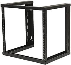 NavePoint 9U Wall Mount Open Frame 19 Inch Server Equipment Rack Threaded 16 inch Depth Black