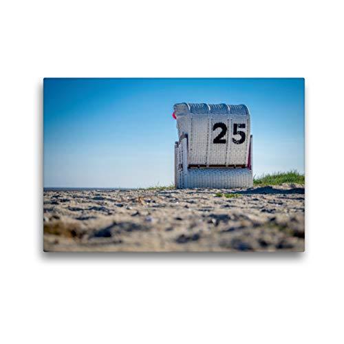 CALVENDO Premium Textil-Leinwand 45 x 30 cm Quer-Format Strandkorb in Hooksiel im Landkreis Friesland, Leinwanddruck von Marlen Rasche