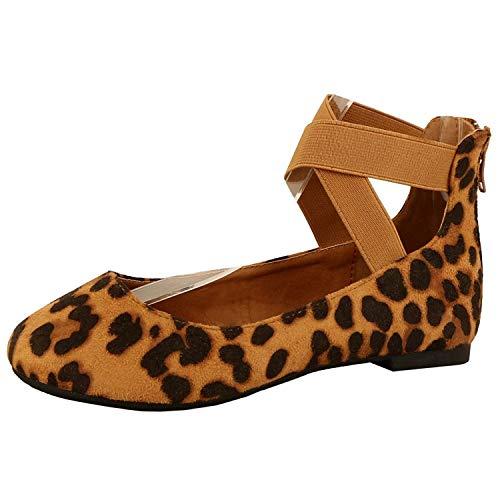 Damen Klassische Ballerinas mit elastischen Kreuzungen Knöchelriemen Ballett Flach Yoga Flache Schuhe Slip On Loafers, (Leo), 38.5 EU