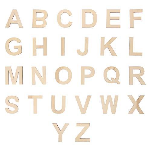 Artibetter 78 Unids Letras de Madera sin Terminar Diy en Blanco 26 Alfabeto Mayúscula Rebanada Pieza Adorno para Exhibición de Bodas Decoración de Pared Pintada Suministros Educativos de
