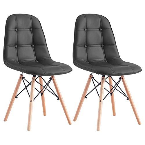 IDIMEX Esszimmerstuhl Cesar im Retro Design, Küchenstuhl Essstuhl Polsterstuhl im 2er Set aus Lederimitat in schwarz
